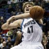Photo -   Minnesota Timberwolves' Andrei Kirilenko (47), of Russia, reacts as he is fouled by Charlotte Bobcats' Michael Kidd-Gilchrist, rear, in the first half of an NBA basketball game, Wednesday, Nov. 14, 2012, in Minneapolis. (AP Photo/Jim Mone)