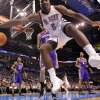 Oklahoma City Thunder center Kendrick Perkins (5) saves a loose ball during the NBA basketball game between the Oklahoma City Thunder and the Phoenix Suns at the Chesapeake Energy Arena on Wednesday, March 7, 2012 in Oklahoma City, Okla. Photo by Chris Landsberger, The Oklahoman