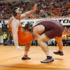 Minnesota\'s Tony Nelson wrestles Oklahoma State\'s Austin Marsden, left, in the 285-pound match during the NWCA National Duals championship wrestling at Gallagher-Iba Arena in Stillwater, Okla., Sunday, Feb. 19, 2012. Minnesota won the dual 18-13. Photo by Bryan Terry, The Oklahoman