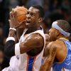 NBA BASKETBALL: Jeff Green goes to the basket past Kenyon Martin in the second half as the Oklahoma City Thunder play the Denver Nuggets at the Ford Center in Oklahoma City, Okla. on Friday, January 2, 2009. Photo by Steve Sisney/The Oklahoman ORG XMIT: kod Photo by Steve Sisney, The Oklahoman