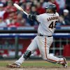 San Francisco Giants\' Pablo Sandoval hits a two-run home run in the seventh inning of Game 4 of the National League division baseball series against the Cincinnati Reds, Wednesday, Oct. 10, 2012, in Cincinnati. (AP Photo/David Kohl)