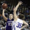 Okarche\'s Kinsey Grellner shoots over Chattanooga\'s Jaime Brown the Class A girl\'s semi final game between Chattanooga and Okarche at the State Fair Arena in Oklahoma City, Friday, March 2, 2012. Photo by Sarah Phipps, The Oklahoman