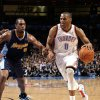 Oklahoma City\'s Russell Westbrook (0)drives to the basket past Denver\'s Arron Afflalo (6) during the NBA basketball game between the Oklahoma City Thunder and the Denver Nuggets at the Chesapeake Energy Arena, Sunday, Feb. 19, 2012. Photo by Sarah Phipps, The Oklahoman