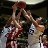OU\'s Whitney Hand (25) tries to get to the basket between Texas A&M\'s Tyra White (20) and Danielle Adams (23) during the women\'s college basketball Big 12 Championship tournament game between the University of Oklahoma and Texas A&M in Kansas City, Mo., Friday, March 11, 2011. Photo by Bryan Terry, The Oklahoman