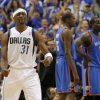 Jason Terry (31) of Dallas reacts in front of Oklahoma City\'s Kevin Durant (35) and Kendrick Perkins (5) during game 1 of the Western Conference Finals in the NBA basketball playoffs between the Dallas Mavericks and the Oklahoma City Thunder at American Airlines Center in Dallas, Tuesday, May 17, 2011. Photo by Bryan Terry, The Oklahoman