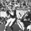 FOOTBALL: 1976 - quarterback Charlie Weatherbie drops back to pass during the Oklahoma State scrimmage