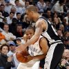 Oklahoma City\'s Russell Westbrook (0) tries to get by San Antonio\'s Ime Udoka (5) during the NBA game between Oklahoma City and San Antonio, Tuesday April 7, 2009, at the Ford Center in Oklahoma CIty. Photo by Sarah Phipps, The Oklahoma