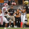 Colorado\'s Dusty Sprague (83) pulls in a touchdown pass in front of Oklahoma\'s Marcus Walker (24) to tie the gaem late in the second half of the college football game between the University of Oklahoma Sooners (OU) and the University of Colorado Buffaloes (CU) at Folsom Field on Saturday, Sept. 28, 2007, in Boulder, Co. By CHRIS LANDSBERGER, The Oklahoman