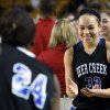 Edmond Deer Creek\'s Ashley Gibson (right) celebrates after their playoff win against East Central, at the Mabee Center, in Tulsa, on Friday, March 8, 2013. CORY YOUNG/Tulsa World