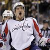 Photo -   Washington Capitals' Alex Ovechkin celebrates the Capitals' 2-1 victory against the Boston Bruins in overtime in Game 7 of an NHL hockey Stanley Cup first-round playoff series, in Boston on Wednesday, April 25, 2012. (AP Photo/Elise Amendola)