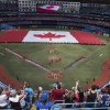 Photo - A Canadian flag is held on the field before the Toronto Blue Jays take on the Milwaukee Brewers in interleague baseball action as they mark Canada Day in Toronto on Tuesday July 1 , 2014. (AP Photo/The Canadian Press, Chris Young)