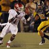 Oklahoma\'s Tony Jefferson (1) recovers a fumble during the second half of the college football game between the University of Oklahoma Sooners (OU) and the University of Missouri Tigers (MU) on Saturday, Oct. 23, 2010, in Columbia, Mo. Oklahoma lost the game 36-27. Photo by Chris Landsberger, The Oklahoman