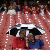Photo - Fans sit in the stands prior to a baseball game between the Cincinnati Reds and the Chicago Cubs that was delayed by rain, Monday, April 28, 2014, in Cincinnati. (AP Photo)