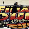 Louisville guard Shoni Schimmel passes the ball during practice at the Women\'s Final Four of the NCAA college basketball tournament, Saturday, April 6, 2013, in New Orleans. Louisville plays California in a semifinal game on Sunday. (AP Photo/Dave Martin)