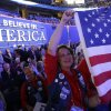 Montana delegate Karen Pfaehler holds up an American flag during the Republican National Convention in Tampa, Fla., on Thursday, Aug. 30, 2012. (AP Photo/David Goldman) ORG XMIT: RNC752