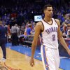 Oklahoma City\'s Thabo Sefolosha (2) walks of the court after losing Game 5 in the first round of the NBA playoffs between the Oklahoma City Thunder and the Houston Rockets at Chesapeake Energy Arena in Oklahoma City, Wednesday, May 1, 2013. Photo by Sarah Phipps, The Oklahoman