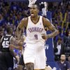 Oklahoma City\'s Serge Ibaka (9) celebrates during Game 3 of the Western Conference Finals between the Oklahoma City Thunder and the San Antonio Spurs in the NBA playoffs at the Chesapeake Energy Arena in Oklahoma City, Thursday, May 31, 2012. Photo by Sarah Phipps, The Oklahoman