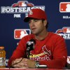 Photo -   St. Louis Cardinals manager Mike Matheny speaks during a news conference, Saturday, Oct. 6, 2012, in St. Louis. The Cardinals and the Washington Nationals are scheduled to play Game 1 in the National League division series on Sunday. (AP Photo/Jeff Roberson)