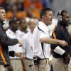 OSU head coach Mike Gundy argues a call during the Valero Alamo Bowl college football game between the Oklahoma State University Cowboys (OSU) and the University of Arizona Wildcats at the Alamodome in San Antonio, Texas, Wednesday, December 29, 2010. Photo by Sarah Phipps, The Oklahoman