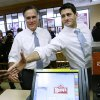 Republican presidential candidate, former Massachusetts Gov. Mitt Romney and his vice presidential running mate, Rep. Paul Ryan, R-Wis., make an unscheduled stop at a Wendy\'s restaurant in Richmond Heights, Ohio, on Election Day, Tuesday, Nov. 6, 2012. (AP Photo/Charles Dharapak