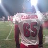 Stigler\'s Austan Drewry was chosen to wear Cory Casinger\'s No. 65 for the game against Eufaula on Friday, Sept. 28. PHOTO BY RYAN ABER, THE OKLAHOMAN