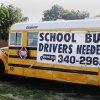 Edmond school bus advertises the need for drivers north of Memorial on the I-235 access road Wednesday Aug. 15, 2007. By Greg Elwell, The Oklahoman