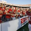 OU\'s Kenny Stills celebrates with fans after the Red River Rivalry college football game between the University of Oklahoma Sooners (OU) and the University of Texas Longhorns (UT) at the Cotton Bowl on Saturday, Oct. 2, 2010, in Dallas, Texas. OU defeated Texas 28-20. Photo by Bryan Terry, The Oklahoman