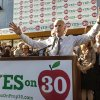 Photo -   California Gov. Jerry Brown campaigns for Proposition 30 in the Panorama City section of Los Angeles on Monday, Nov. 5, 2012. Brown launched his latest swing through Southern California Monday to support his tax initiative for schools, Proposition 30. (AP Photo/Damian Dovarganes)