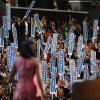 First Lady Michelle Obama waves after addressing the Democratic National Convention in Charlotte, N.C., on Monday, Sept. 3, 2012. (AP Photo/Jae C. Hong) ORG XMIT: DNC819