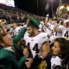 Notre Dame\'s Carlo Calabrese (44) celebrates after the college football game between the University of Oklahoma Sooners (OU) and the Notre Dame Fighting Irish at Gaylord Family-Oklahoma Memorial Stadium in Norman, Okla., Saturday, Oct. 27, 2012. Oklahoma lost 30-13. Photo by Bryan Terry, The Oklahoman