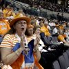 NCAA TOURNAMENT, WOMEN\'S COLLEGE BASKETBALL: Tennessee fan Sylvia Billingsley of Oneida, Tenn., cheers during the regional semifinals of the NCAA women\'s basketball tournament between Tennessee and the University of Notre Dame at the Ford Center in Oklahoma City, Sunday, March 30, 2008. BY SARAH PHIPPS, THE OKLAHOMAN