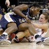 OU\'s Whitney Hand fights with Pittsburgh\'s Xenia Stewart during the NCAA women\'s basketball tournament game between Oklahoma and Pittsburgh at the Ford Center in Oklahoma City, Sunday, March 29, 2009. PHOTO BY BRYAN TERRY, THE OKLAHOMAN