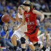 Lomega\'s Ashley LaGasse runs up court as Erick\'s Makenzie Janz defends during the Class B girls state championship between Erick and Lomega at the State Fair Arena., Saturday, March 2, 2013. Photo by Sarah Phipps, The Oklahoman