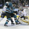 Photo - Nashville Predators goalie Pekka Rinne (35), of Finland, blocks a shot on goal by San Jose Sharks left wing Martin Havlat (9), of the Czech Republic, during the first period of an NHL hockey game in San Jose, Calif., on Saturday, Feb. 2, 2013. (AP Photo/Tony Avelar)