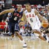 Russell Westbrook, left, covers Derrick Rose, right, during a USA Basketball men\'s national team exhibition game, Saturday, July 24, 2010 in Las Vegas. (AP Photo/Isaac Brekken) ORG XMIT: NVIB104