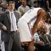 Oklahoma City\'s Kevin Durant (35) places his hands on his knees in front of head coach Scott Brooks late in the fourth quarter of the NBA basketball game between the Chicago Bulls and the Oklahoma City Thunder at the Ford Center in Oklahoma City, Wednesday, March 18, 2009. Chicago won, 103-96. PHOTO BY NATE BILLINGS, THE OKLAHOMAN