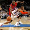 EXHIBITION NBA BASKETBALL GAME: Oklahoma City\'s Russell Westbrook (0) loses the ball in front of CSKA Moscow\'s Jamont Gordon (44) during the preseason NBA basketball game between the Oklahoma City Thunder and CSKA Moscow in Oklahoma City, Thursday, October 14, 2010. Photo by Bryan Terry, The Oklahoman ORG XMIT: KOD