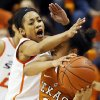 Oklahoma State\'s Tiffany Bias (3) pressures Texas\' Celina Rodrigo (2) during a women\'s college basketball game between Oklahoma State University (OSU) and the University of Texas at Gallagher-Iba Arena in Stillwater, Okla., Saturday, March 2, 2013. Photo by Nate Billings, The Oklahoman