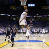 Oklahoma City\'s Russell Westbrook (0)dunks during game five of the Western Conference semifinals between the Memphis Grizzlies and the Oklahoma City Thunder in the NBA basketball playoffs at Oklahoma City Arena in Oklahoma City, Wednesday, May 11, 2011. Photo by Sarah Phipps, The Oklahoman