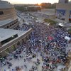 In this view from the Courtyard Oklahoma City Downtown, hundreds of Thunder fans gather outside the OKC Arena to watch game 3 on a jumbotron during the Western Conference Finals of the NBA basketball playoffs between the Dallas Mavericks and the Oklahoma City Thunder at the OKC Arena in downtown Oklahoma City, Saturday, May 21, 2011. Photo by Nate Billings, The Oklahoman