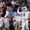 Texas A&M\'s Johnny Manziel (2) reacts after a touchdown during the college football Cotton Bowl game between the University of Oklahoma Sooners (OU) and Texas A&M University Aggies (TXAM) at Cowboy\'s Stadium on Friday Jan. 4, 2013, in Arlington, Tx. Photo by Chris Landsberger, The Oklahoman