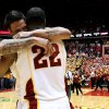 Iowa State guard Chris Babb and forward Anthony Booker celebrate their 87-76 victory over Oklahoma State in an NCAA college basketball game Wednesday, March 6, 2013, at Hilton Coliseum in Ames, Iowa. (AP Photo/Justin Hayworth) ORG XMIT: IAJH113