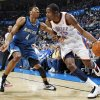 Oklahoma City\'s Kevin Durant (35) dribbles the ball past Wesley Johnson (4) of Minnesota during the NBA basketball game between the Minnesota Timberwolves and the Oklahoma City Thunder at the Oklahoma City Arena, Monday, November 22, 2010, in Oklahoma City. Photo by Nate Billings, The Oklahoman