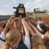 Tushka celebrates the win over Dale in the Class 4A Oklahoma State High School Slow Pitch Softball Championship at ASA Hall of Fame Stadium in Oklahoma City, Wednesday, May 1, 2013. Photo by Chris Landsberger, The Oklahoman