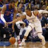 Oklahoma City\'s Russell Westbrook (0) gets the steal on Detroit\'s Greg Monroe (10) during the NBA basketball game between the Oklahoma City Thuder and the Detroit Pistons at Chesapeake Energy Arena in Oklahoma City, Okla. on Wednesday, April 16, 2014. Photo by Chris Landsberger, The Oklahoman
