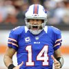 Photo -   Buffalo Bills quarterback Ryan Fitzpatrick reacts after throwing a 9-yard touchdown pass to wide receiver Steve Johnson in the fourth quarter of an NFL football game against the Cleveland Browns, Sunday, Sept. 23, 2012, in Cleveland. (AP Photo/David Richard)