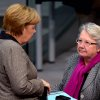 FILE - In this Dec. 13, 2012 file picture German chancellor Angela Merkel, left, talks with education minister Annette Schavan during a session of the German parliament in Berlin. Germany\'s education minister has resigned Saturday Feb. 9, 2013, after a university decided to withdraw her doctorate, finding that she plagiarized parts of her thesis - an embarrassment for Chancellor Angela Merkel\'s government months before national elections. (AP Photo/dpa, Rainer Jensen,File)