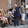 Residents wait outside an emergency center for news of family and friends following a train derailment in downtown Lac Megantic, Quebec, that caused explosions of railway cars carrying crude oil on Saturday, July 6, 2013. (AP Photo/The Canadian Press, Paul Chiasson)