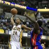 FILE - In this April 23, 2012, file photo, Indiana Pacers\' Paul George (24) goes up for a shot during the second half of an NBA basketball game against the Detroit Pistons in Indianapolis. The Pacers won\'t be double-teaming Dwyane Wade. Thanks to George, they don\'t feel that will be necessary. George, a 6-foot-9 guard, made a name for himself last year as a rookie when he challenged Derrick Rose in the first round of the playoffs. (AP Photo/Darron Cummings, File)