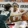 Oklahoma State\'s Kendra Suttles (31) tries to get around Cal Poly\'s Caroline Reeves (22) during the women\'s college basketball game between Oklahoma State and Cal Poly at Gallagher-Iba Arena in Stillwater, Okla., Friday, Nov. 9, 2012. Photo by Sarah Phipps, The Oklahoman